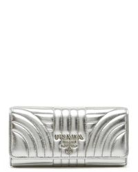 Prada - Metallic Quilted Continental Wallet - Lyst