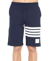 Thom Browne - Blue Four Bar Long Shorts for Men - Lyst