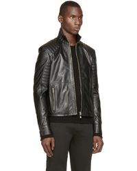 Versus - Black Leather Biker Jacket for Men - Lyst