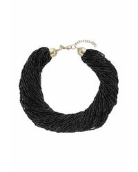 TOPSHOP | Black Bead Mutlirow Necklace | Lyst