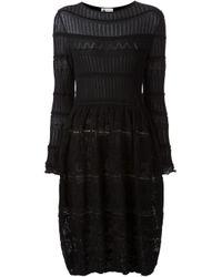 Lanvin - Black Crochet Knit Dress - Lyst