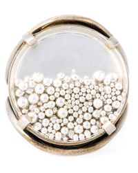 Ann Demeulemeester Blanche | Metallic Transparent Pearl Circle Ring | Lyst