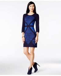 Spense | Blue Petite Geo-print Colorblocked Sheath Sweater Dress | Lyst