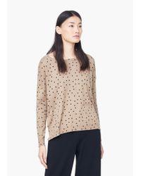 Mango - Natural Polka-dot Cotton-blend Sweater - Lyst