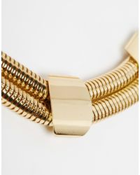 ASOS | Metallic Double Row Chunky Chain Necklace | Lyst