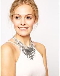 ASOS - Metallic Chainmail Fringe Necklace - Lyst