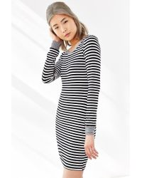 Silence   noise Striped Long-sleeve Bodycon Dress in White | Lyst