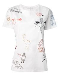 Carven - White Embroidered Tshirt - Lyst