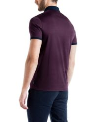 Ted Baker - Purple Eyebis Colour Block Collar Polo Shirt for Men - Lyst