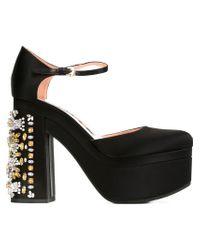 Rochas - Black Embellished Heel Platform Pumps - Lyst