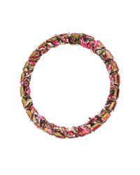 Alyssa Norton | Multicolor Red And Pink Fabric Wrapped Bangle With Red Baguette Rhinestones | Lyst