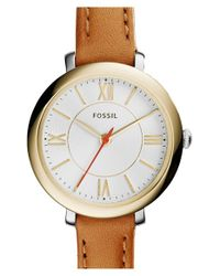 Fossil - Brown 'jacqueline' Leather Strap Watch - Lyst