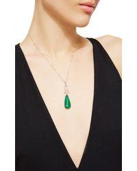 Nina Runsdorf | Green Rose Cut Diamonds Station Necklace With Large Emerald Briolette And Rose Cut Diamond Pendant | Lyst