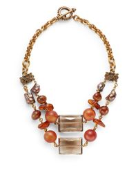 Stephen Dweck | Metallic Smoky Quartz & Amber Bib Necklace | Lyst