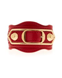 Balenciaga | Red Double Stud Leather Bracelet | Lyst