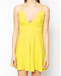 Oh My Love - Yellow Plunge Neck Skater Dress - Lyst