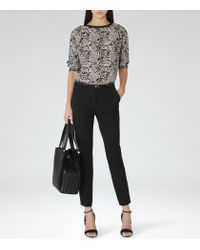 Reiss | Black Marianne Slim Studded Belt | Lyst