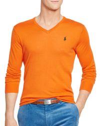 Pink Pony | Orange Polo Slim-fit Merino V-neck Sweater for Men | Lyst