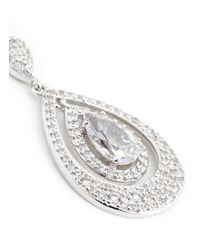 CZ by Kenneth Jay Lane | Metallic Pear Cut Cubic Zirconia Layer Drop Earrings | Lyst