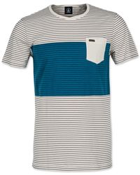 Volcom | Blue Deport Striped Slim-fit T-shirt for Men | Lyst