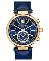 MICHAEL Michael Kors - Blue 'sawyer' Leather Strap Watch - Lyst