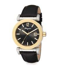 Ferragamo | Metallic Salvatore Gent Goldtone Stainless Steel & Leather Strap Watch | Lyst