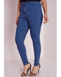 Missguided - Plus Size High Waisted Skinny Jeans Mid Blue - Lyst