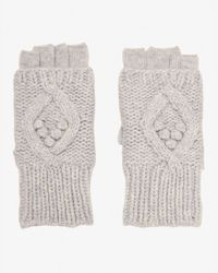 Exclusive For Intermix - Gray Popcorn/cable Stitch Fingerless Gloves - Lyst