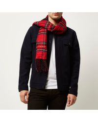 River Island - Red Plaid Pattern Reversible Scarf for Men - Lyst