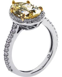 Carat* - Pear 3ct Canary Yellow Borderset Ring - Lyst