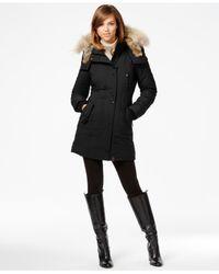 Rudsak | Black Real-fur-trim Leather-trim Coat | Lyst