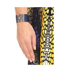 Fendi | Blue Crocodile Leather Cuff with Studded Logo Closure | Lyst