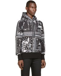 Versus | Black & White Scarf Print Hoodie for Men | Lyst
