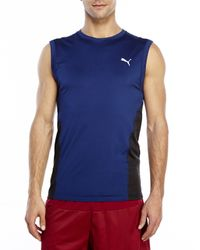 PUMA | Blue Mesh Panel Tank for Men | Lyst