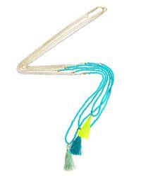 ASOS   Blue Multi Row Tassel Necklace   Lyst