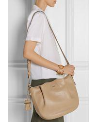 Tod's - Brown Flower Luna Textured-Leather Shoulder Bag - Lyst