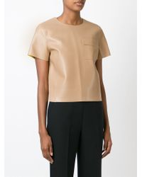 MSGM - Natural Cropped Boxy Top - Lyst