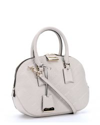Burberry - Stone White Check Embossed Calfskin Convertible Tote Bag - Lyst