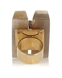 Marni - Metallic Gold-Plated, Horn And Crystal Ring - Lyst
