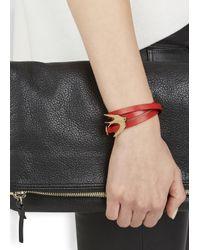 McQ - Red Leather Swallow Triple Wrap Bracelet - Lyst
