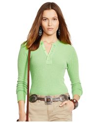 Polo Ralph Lauren | Green Button-front Henley Top | Lyst