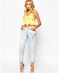 Fashion Union - White Cami Crop Top With Peplum Hem - Lyst