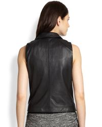 Eileen Fisher - Black Leather Moto Vest - Lyst