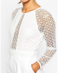 ASOS - White Premium Jumpsuit With Structured Lace Bodice - Lyst