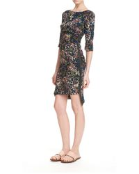 Tracy Reese | Brown Side Zip Feather Printed Dress | Lyst