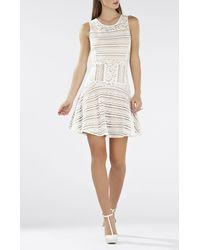 BCBGMAXAZRIA - White Jalina Sleeveless Lace-blocked Dress - Lyst