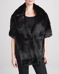 Pologeorgis | Black Long Rabbit Fur Stole with Pockets | Lyst