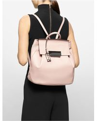 Calvin Klein | Natural Kelsey Pebble Leather Backpack | Lyst
