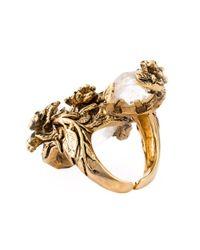 Roberto Cavalli | Metallic Swarovski Crystal Floral Ring | Lyst