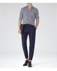 Reiss - Blue Gladiator Contrast Check Shirt for Men - Lyst